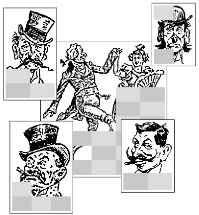 Sample Nonograms - Enthuisiastic Dancer, Mustache and Top Hat, Man with Bowler Hat.